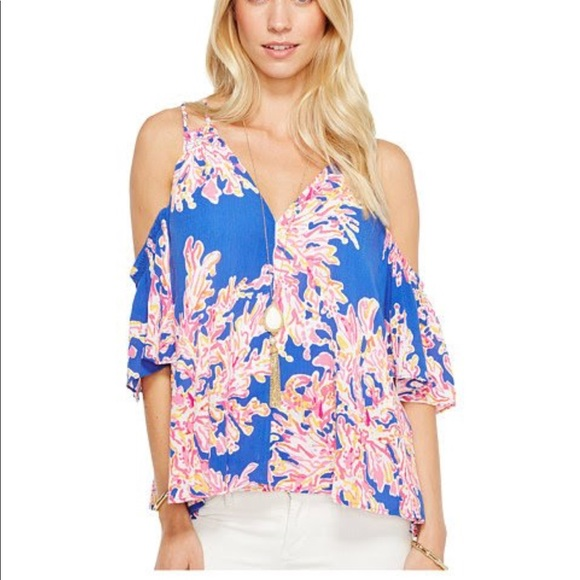 df590d350b582 Lilly Pulitzer Blue Cold Shoulder Top Crop Shirt